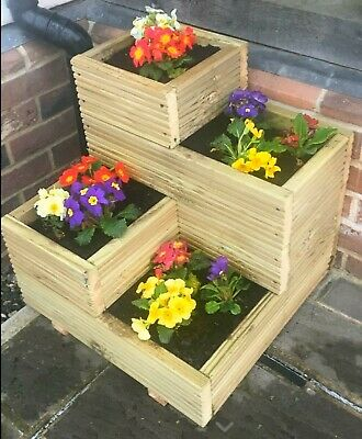 Handmade Large Corner Decking 4 tier wooden garden planter