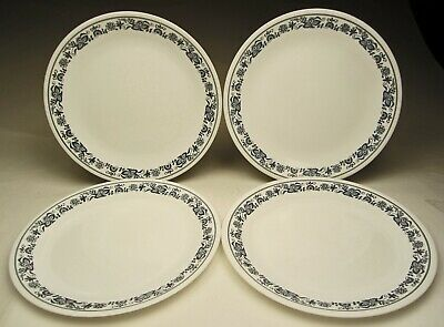 Vintage Corelle Old Town Blue 4 Dinner Plates Made 1979 to Discontinued 1990's