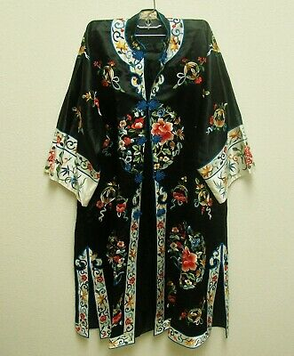 Vintage Golden Bee Chinese Embroidered Black Silk Robe & Pants Outfit M