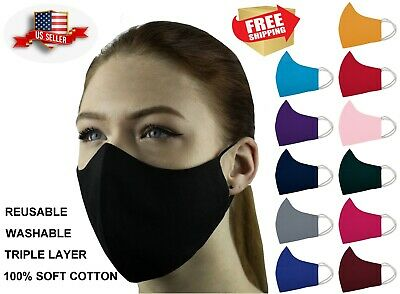Face Mask Triple Layers 100% Cotton Washable Reusable With Filter Pocket. Unisex