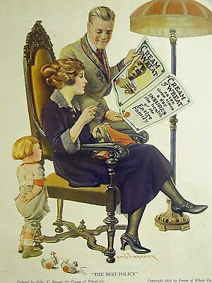 Brewer CREAM OF WHEAT Ad THE BEST POLICY 1922 Matted POLE LAMP WOODEN TOY SEWING