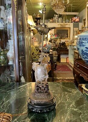 Chinese Antique Agate Hand Carved Urn Triple Lamp Wood Bronze Base Phoenix Birds