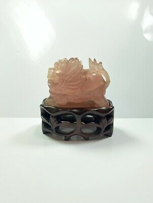 Chinese Antique Rose Quartz Lion Foo Dog Figure Wooden Stand Display