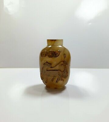 Chinese Antique Agate Snuff Bottle Horse Carved Relief 18th Century