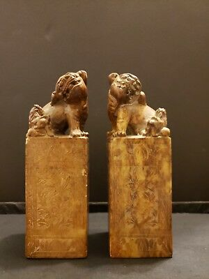 Chinese Soft Stone Seal Foo Dog Pair