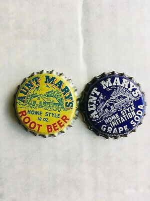 Lot of 2 Aunt Mary's cork lined soda bottle caps 1 grape 1 root beer