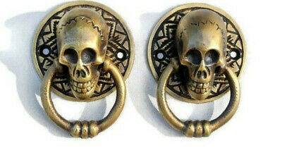 2 small SKULL head ring pull Handle cast BRASS day of the dead cabinet door 5 cm