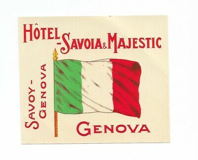 Authentic Vintage Luggage Label ~ HOTEL SAVOIA & MAJESTIC ~ Genova, Italy
