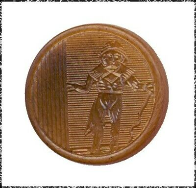 Small Antique French Pressed Horn Button w/ Fop, Incroyable
