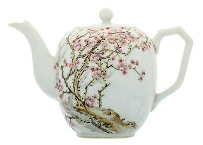 A Chinese famille rose antique porcelain teapot with famous artist seal and poem