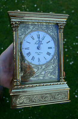 Vintage EXHIBITION QUALITY Hand Engraved CARRIAGE CLOCK REPEATER by  L'Epée