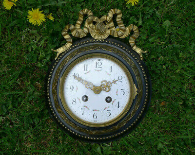 Antique Rococo ORMOLU BRONZE CARTEL STYLE 8-day French Clock 8-day