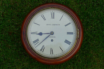 Antique Mahogany 8 inch dial FUSEE WALL CLOCK AYES&BENNET, London Lock to door