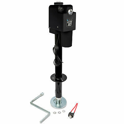 Black Powered A-Frame Tongue Jack + Leveling Cap + Manual Crank + Storage Cover