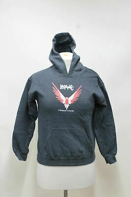 GILDAN Boys Logan Paul Logang Bird Logo Grey Hooded Long Sleeve Sweatshirt M