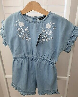 Bnwt Girls Denim Chambray Playsuit Age 2-3 George Embroidered Brand New