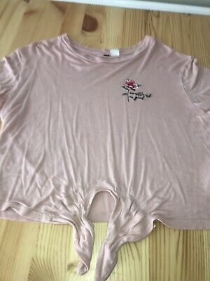 Ladies Girls Top H&M Size M Pink Rose Tie Front
