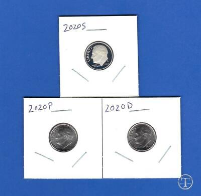 2020 P D and S BU and Proof Dime Set-PD from Rolls-3 Dimes PDS-IN STOCK