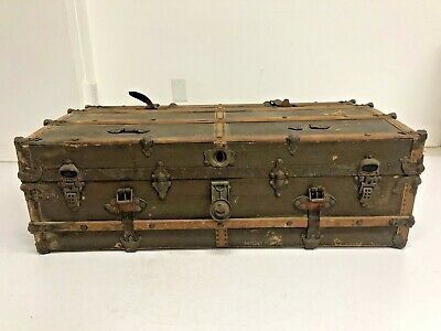 Vintage WOOD STEAMER TRUNK chest coffee table storage box antique flat top brown