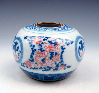 Blue&White Ox-Blood Red Floral Dragons Porcelain Brush Washer Pot #05131601