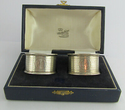 Boxed Pair Of Engine Turned Silver Napkin Rings, J.Gloster, Birmingham 1927