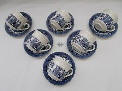 VINTAGE CERAMIC BLUE & WHITE CHURCHILL WILLOW PAGODA PATTERN CUPS & SAUCERS x 6