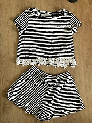 Girls Next 8 Years Two Piece Co Ord Outfit Set Shorts Top Striped Matching Navy