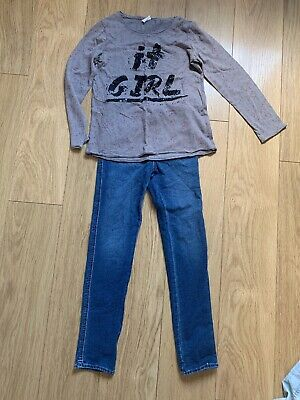 Girls Top And Jeans Bundle Zara Age 7/8