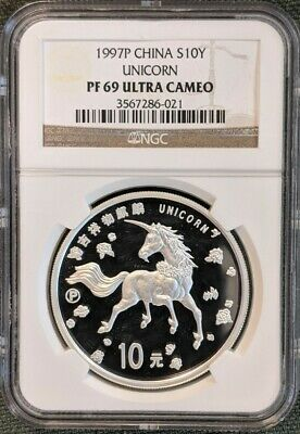 CHINA 1997  Proof Silver 10 Yuan  UNICORN, NGC PF69 ULTRA CAMEO  FREE SHIPPING