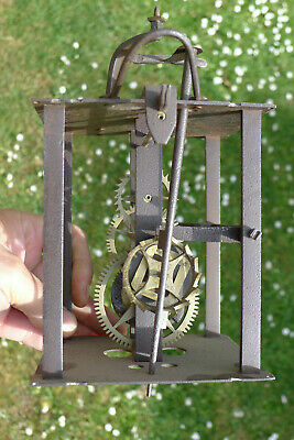 Antique IRON FRAMED Hook & Spike 30 hour lantern/wall/hooded VERGE ALARM clock