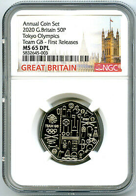 2020 Great Britain 50P Ngc Ms65 Dpl Tokyo Olympics Team Gb First Releases Rare
