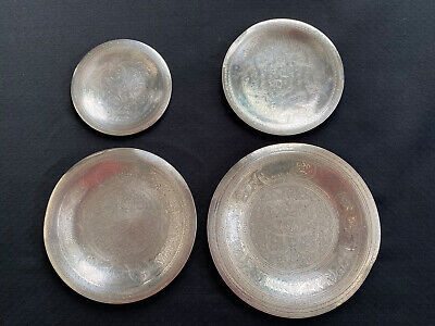 4 Vintage Egyptian 900 Silver Hallmarked Dishes With Islamic Patterns Islam 1944