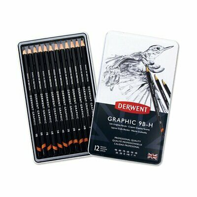 Derwent 34215 Graphic Drawing Pencil - Pack of 12. 9B to 9H