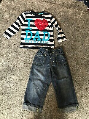 Boys Girls Clothing 2-3y Outfit Long Sleeve Top T-shirt Jeans Trousers Next Love
