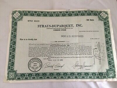 nice old share certificate 1969 straus-duparquet inc 100 shares stock