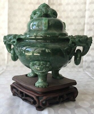Chinese Jade Carved Tripod Censer / Incense Burner on Stand