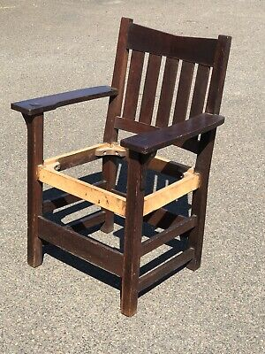 Signed Gustav Stickley Oak Arts And Crafts Armchair