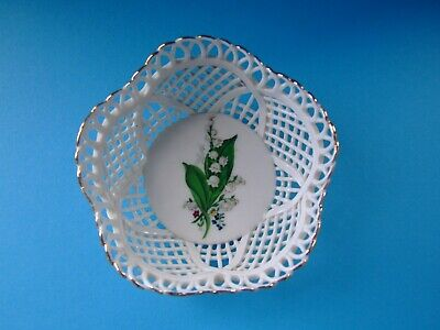 A Small Woven Porcelain Dish ...Lily of the Valley design...Cestar Romania