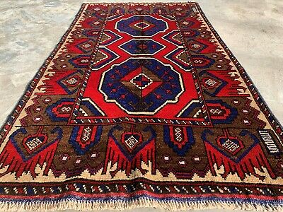 Authentic Hand Knotted Afghan Balouch Wool Area Rug 5 x 3 Ft (161 HM)