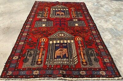 Authentic Hand Knotted Afghan Balouch Pictorial Wool Area Rug 5 x 3 Ft (571 HM)