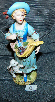 Nice continental Pottery Lady With Lamb Figure.MY REF B3 NO1