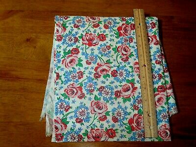 VINTAGE PRINT COTTON FEEDSACK - RED ROSES with BLUE and WHITE FLORAL BACKGROUND