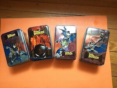 Topps Batman Cartoon Network Trading Cards 4 Embossed Tins Mint No Cards