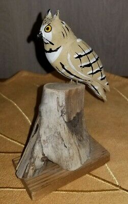 Vintage Signed W. Crossley 74 Hand Carved Wooden Owl Bird Folk Art Carving
