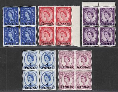 BPA in Eastern Arabia 1956-57 QEII Surcharge Part Block Set to 6a Mint