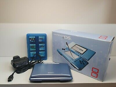 Nintendo DS console Boxed+ Charger with 25+ games with case bundle  blue TESTED