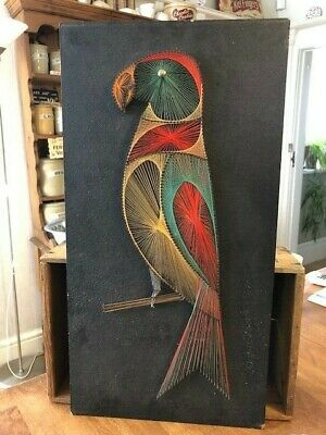 Vintage Mid-Century Large & Colourful String Pin Nail Wall Art – Parrot – Retro!