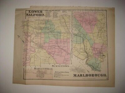 Antique 1871 Lower Salford Marlborough Township Pennsylvania Handcolored Map Nr