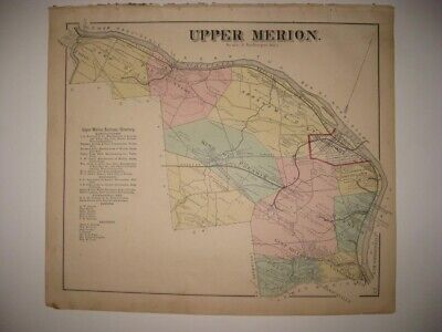 Antique 1871 Upper Merion Township King Of Prussia Bridgeport Pennsylvania Map