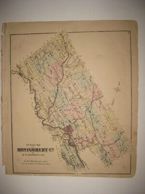 Antique 1871 Montgomery County Pennsylvania Map Hatboro Ambler Jenkintown Fine